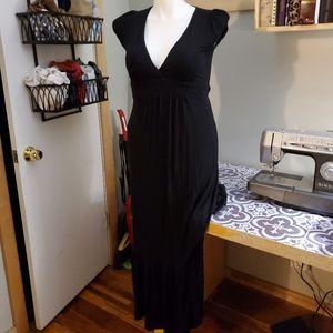 Large black jersey maxi dress